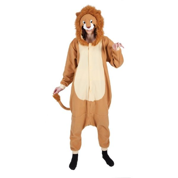 Adult Unisex Lion Fleecy All in 1 Costume Outfit Animals Creatures Fancy Dress Lion